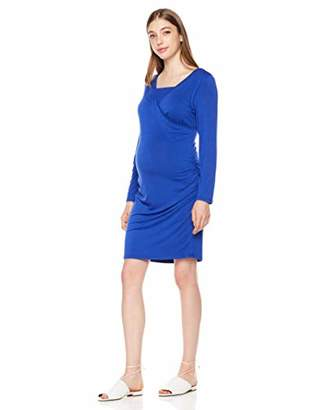 StarMomee Women's Scoop Neck Bodycon Fitted Causal Pregnancy Clothes Nursing Maternity Dress(