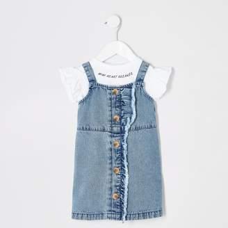 River Island Mini girls Blue denim pinafore outfit