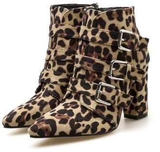Goodnight Macaroon 'Lucinda' Leopard Print Buckled Block Heeled Boots