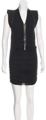 IRO Silk Leather-Trimmed Dress