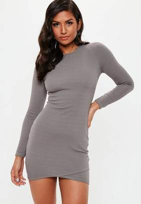 Missguided Grey Round Neck Wrap Dress
