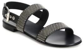 Giuseppe Zanotti Zak Nero Leather Studded Slingback Strap Sandals