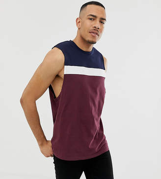 Asos Design DESIGN Tall relaxed sleeveless t-shirt with dropped armhole and colour block in burgundy