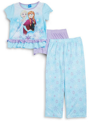 Ame Sleepwear Little Girl's & Girl's Frozen Pajama Tee, Shorts and Pants Set $38 thestylecure.com