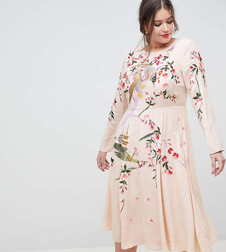 Asos DESIGN Curve midi dress with pretty floral and bird embroidery