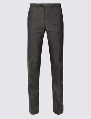M&S Collection Cotton Rich Slim Fit Flat Front Trousers