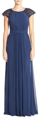 Women's La Femme Embellished Gathered Net Jersey Gown $498 thestylecure.com