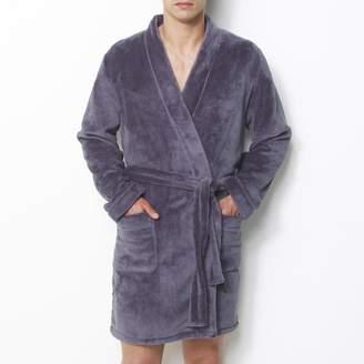 La Redoute Collections Fleece Bathrobe with Kimono Collar, 90 cm Long
