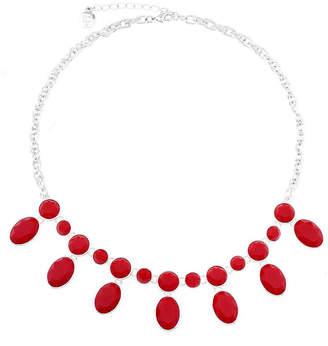 Liz Claiborne Red Stone Silver-Tone Shower Necklace