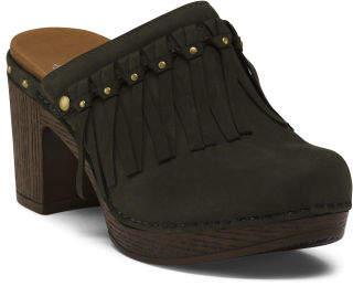 Comfort Slip On Leather Clogs