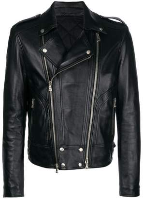 Balmain leather padded biker jacket