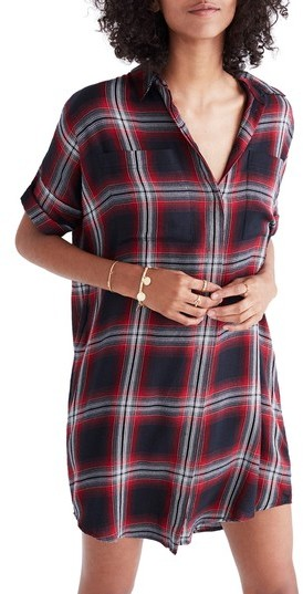 Women's Madewell Courier Plaid Shirtdress