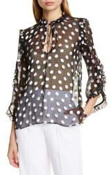 Alice + Olivia Julius Ruffle Sleeve Polka Dot Silk Blend Blouse