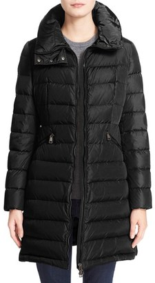 Women's Moncler 'Flammette' Water Resistant Long Hooded Down Coat $1,300 thestylecure.com