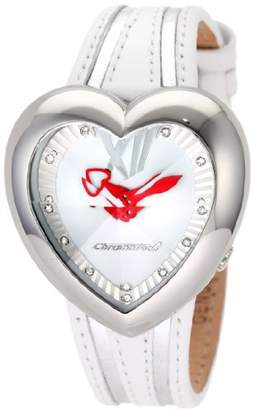 Chronotech Women's CT.7688M/01 Heart Shape White Leather Watch
