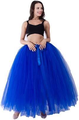 FOLOBE Women Puffy Tutu Tulle Petticoat Self Tie Wasit Skirts 39.4in