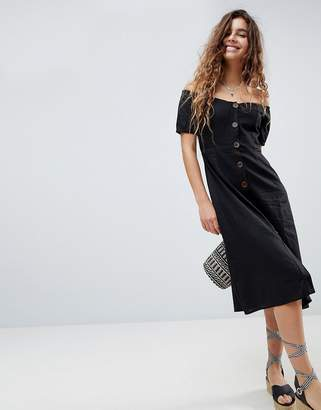 Asos DESIGN Button Through Off Shoulder Midi Dress
