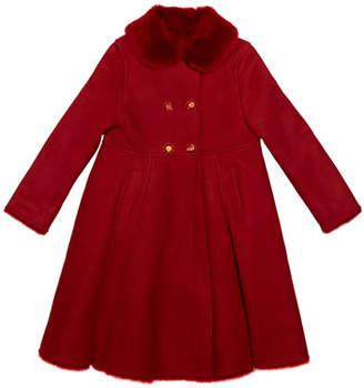 Dolce & Gabbana Girl's Wool Coat w/ Fur Collar, Size 4-6