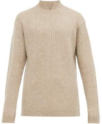 BEIGE Deveaux - Mock Neck Ribbed Cashmere Sweater - Mens