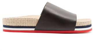 Moncler Striped Leather Slides - Womens - Black