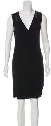 Helmut Lang Mesh-Accented High-Low Dress