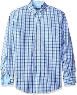 Izod Men's Long Sleeve Essential Tattersal Button Down Woven Shirt