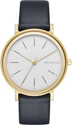 Skagen 'Hald' Round Leather Strap Watch, 34mm $155 thestylecure.com