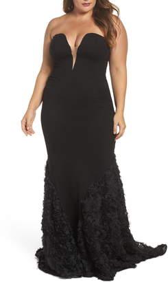 f1dc9491db1 Mac Duggal Strapless Bustier Rosette Gown