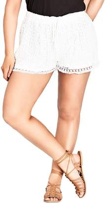 City Chic Lace Overlay Shorts