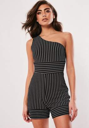 dce1066397f8 Missguided Black Stripe One Shoulder Playsuit