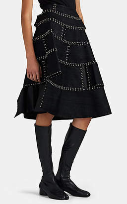 Noir Kei Ninomiya Women's Herringbone-Jacquard Ring-Detailed Full Skirt - Black