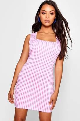 boohoo Petite Gingham Square Neck Bodycon Dress