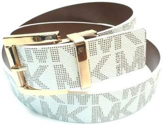 1c7e7402a306 Michael Kors Signature Monogram Logo Reversible Gold Buckle Belt Reversible  White Brown