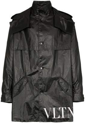 Valentino VLTN logo waxed hooded parka