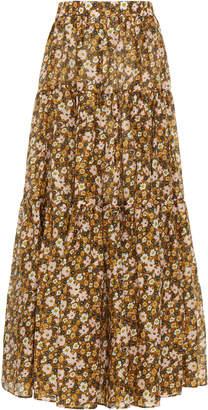 LEE MATHEWS Ariel Floral-Print Linen-Silk Maxi Skirt Size: 0
