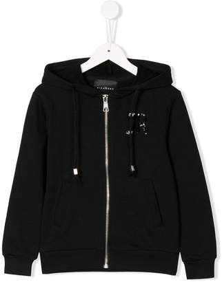 John Richmond Junior logo zipped hoodie