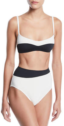Proenza Schouler Colorblocked Bralette High-Waist Two-Piece Bikini Swim Set