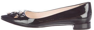 pradaPrada Embellished Patent Leather Flats