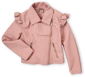 Joujou Jou Jou (Girls 7-16) Soft Pink Ruffled Moto Jacket