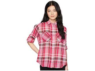 Lauren Ralph Lauren Petite Plaid Cotton Long Sleeve Shirt Women's Clothing