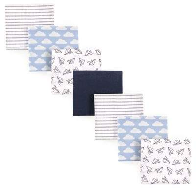 Hudson Baby 7-Pack Paper Airplanes Flannel Receiving Blankets