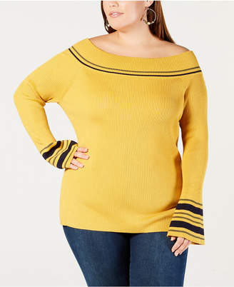 NY Collection Plus Size Striped Off-The-Shoulder Sweater