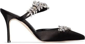 Manolo Blahnik Black Lurum 90 Crystal embellished Satin Mules