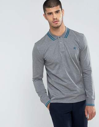 Paul Smith Twin Tipped PS Logo Long Sleeve Polo Shirt in Gray
