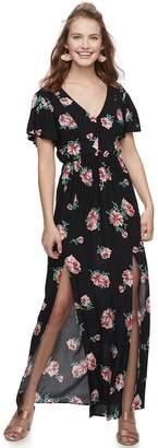 Juniors' Three Pink Hearts Floral Maxi Dress