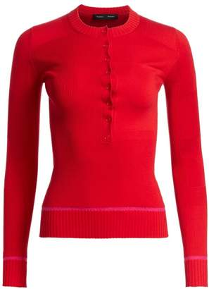 Proenza Schouler Ribbed Silk & Cashmere Henley Shirt