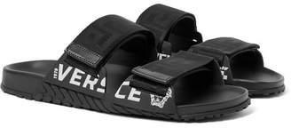 Versace Logo-Detailed Webbing and Rubber Sandals - Men - Black