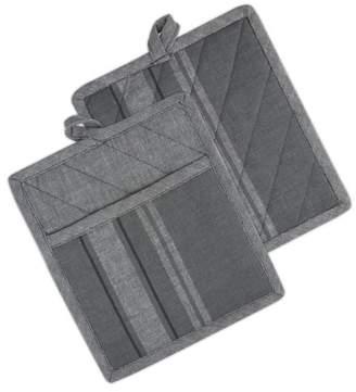 "Design Imports Gray Chambray French Stripe Potholders, Set of 2, 9""x8"", 100% Cotton, Gray"
