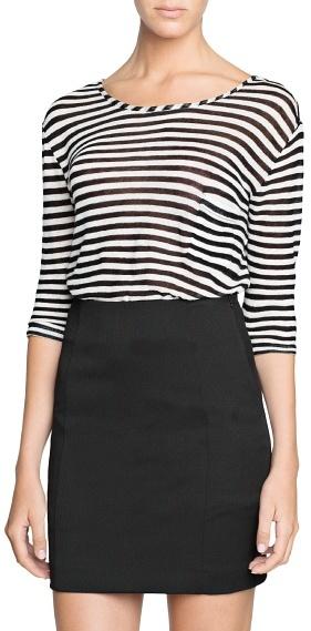 Mango Outlet Cotton Modal-Blend Striped T-Shirt