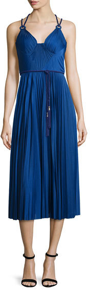 Catherine DeaneCatherine Deane Sleeveless Belted Pleated Cocktail Dress, Cobalt